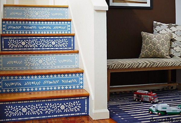 Трафарет в декорі дерев`яних сходів