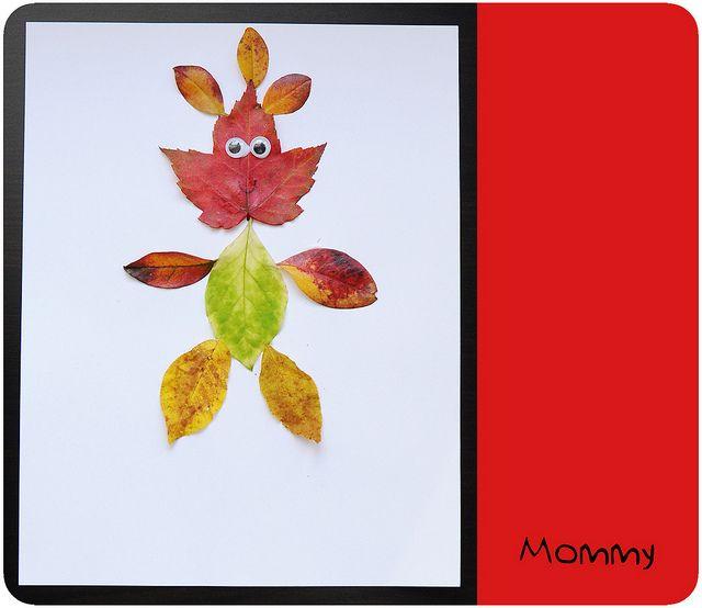 Портрети сім`ї з осіннього листя